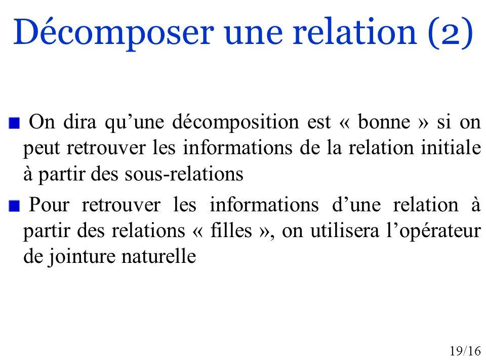 19/16 Décomposer une relation (2) On dira quune décomposition est « bonne » si on peut retrouver les informations de la relation initiale à partir des