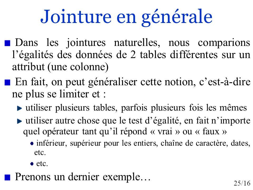 25/16 Jointure en générale Dans les jointures naturelles, nous comparions légalités des données de 2 tables différentes sur un attribut (une colonne)