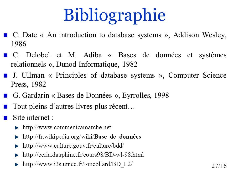 27/16 Bibliographie C. Date « An introduction to database systems », Addison Wesley, 1986 C. Delobel et M. Adiba « Bases de données et systèmes relati