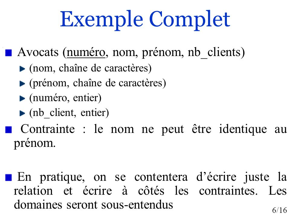 6/16 Exemple Complet Avocats (numéro, nom, prénom, nb_clients) (nom, chaîne de caractères) (prénom, chaîne de caractères) (numéro, entier) (nb_client, entier) Contrainte : le nom ne peut être identique au prénom.
