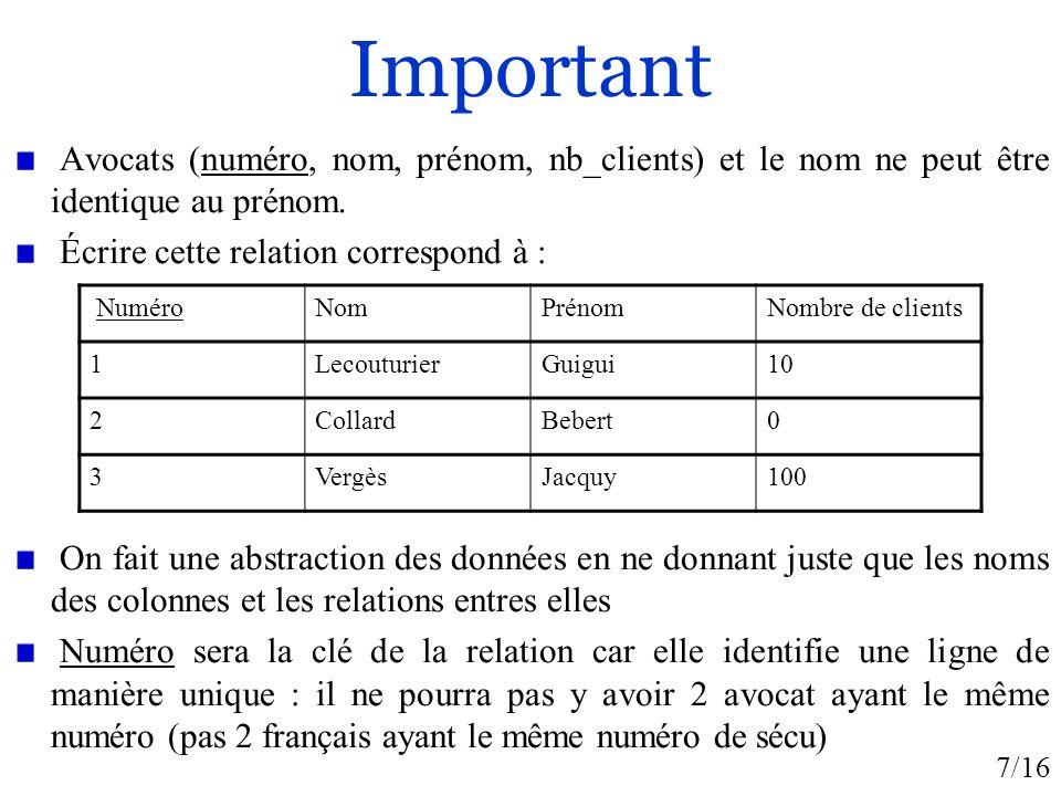 7/16 Important Avocats (numéro, nom, prénom, nb_clients) et le nom ne peut être identique au prénom. Écrire cette relation correspond à : On fait une