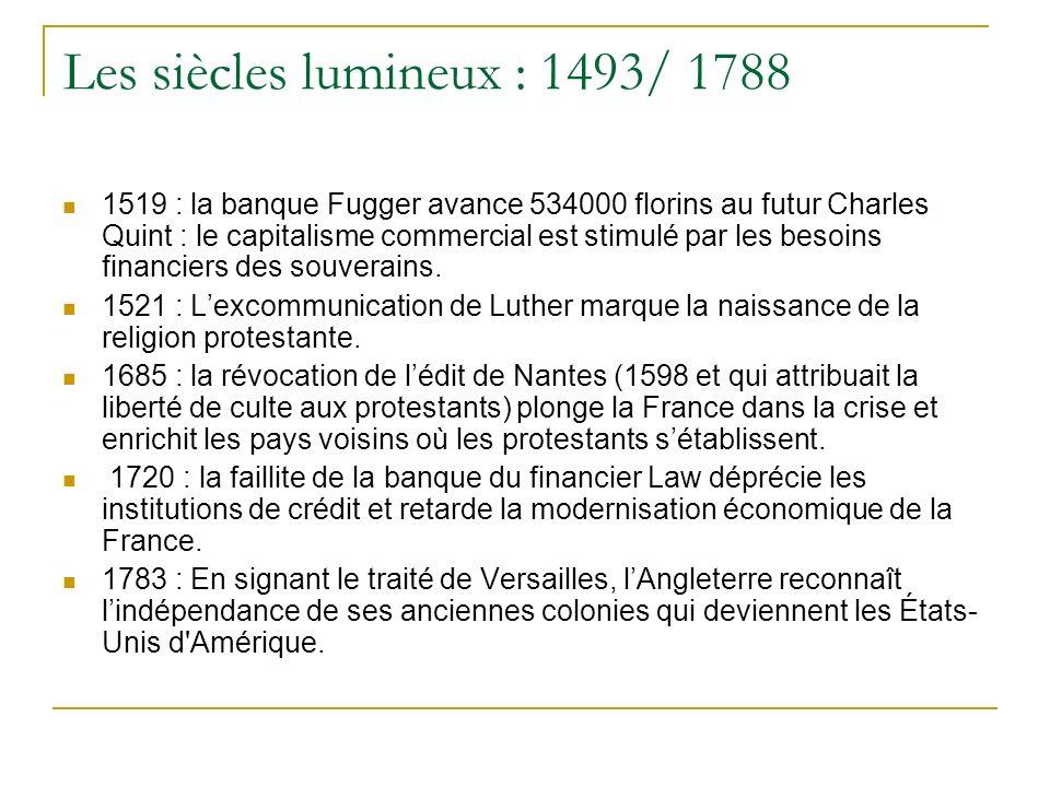 Les siècles lumineux : 1493/ 1788 1519 : la banque Fugger avance 534000 florins au futur Charles Quint : le capitalisme commercial est stimulé par les
