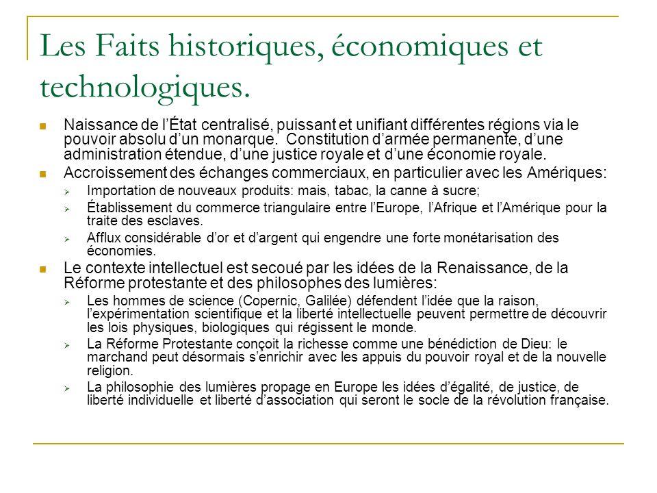 Les Faits historiques, économiques et technologiques. Naissance de lÉtat centralisé, puissant et unifiant différentes régions via le pouvoir absolu du