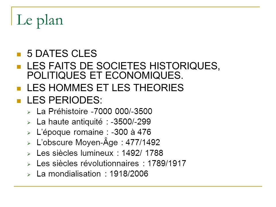 Le plan 5 DATES CLES LES FAITS DE SOCIETES HISTORIQUES, POLITIQUES ET ECONOMIQUES. LES HOMMES ET LES THEORIES LES PERIODES: La Préhistoire -7000 000/-