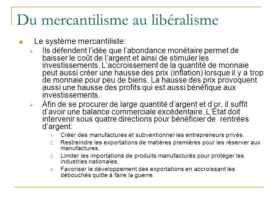 Du mercantilisme au libéralisme Le système mercantiliste: Ils défendent lidée que labondance monétaire permet de baisser le coût de largent et ainsi d