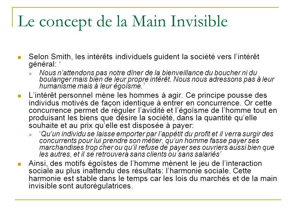 Le concept de la Main Invisible Selon Smith, les intérêts individuels guident la société vers lintérêt général: Nous nattendons pas notre dîner de la