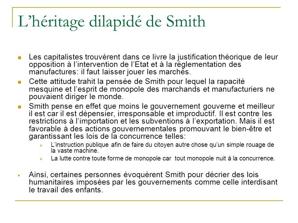 Lhéritage dilapidé de Smith Les capitalistes trouvèrent dans ce livre la justification théorique de leur opposition à lintervention de lEtat et à la r