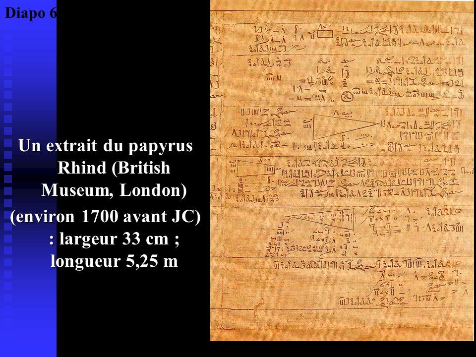Un extrait du papyrus Rhind (British Museum, London) (environ 1700 avant JC) : largeur 33 cm ; longueur 5,25 m Diapo 6
