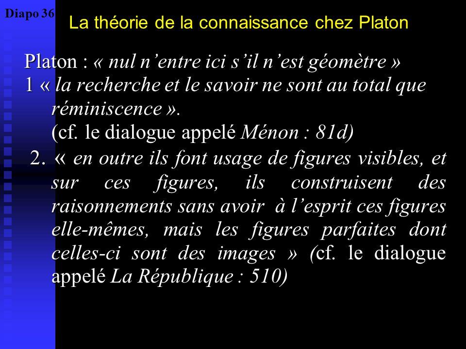 La théorie de la connaissance chez Platon Platon : « nul nentre ici sil nest géomètre » 1 « la recherche et le savoir ne sont au total que réminiscenc
