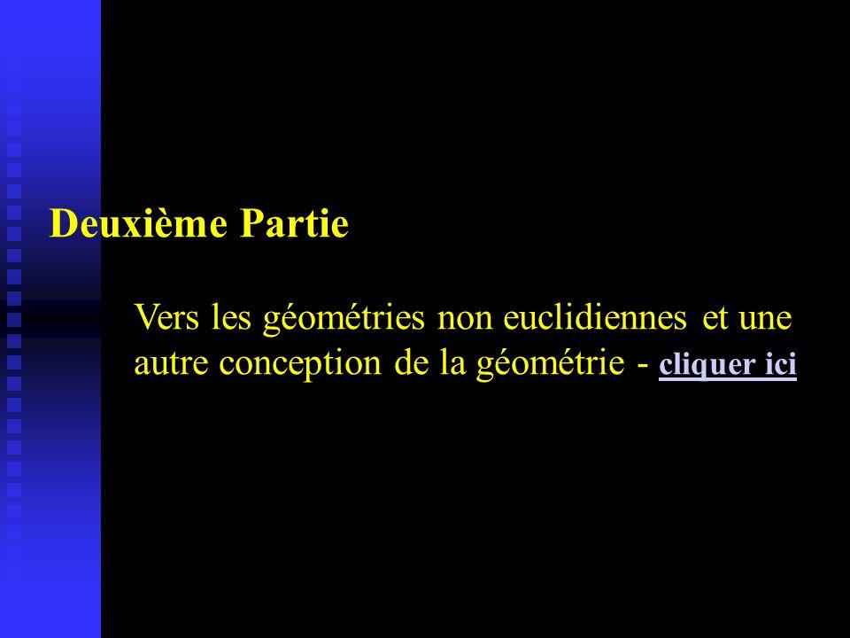 Deuxième Partie Vers les géométries non euclidiennes et une autre conception de la géométrie - cliquer ici cliquer ici