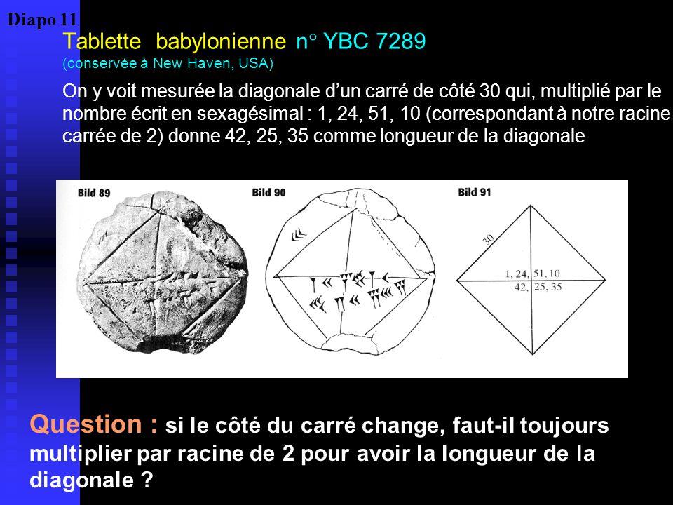 Tablette babylonienne n° YBC 7289 (conservée à New Haven, USA) On y voit mesurée la diagonale dun carré de côté 30 qui, multiplié par le nombre écrit