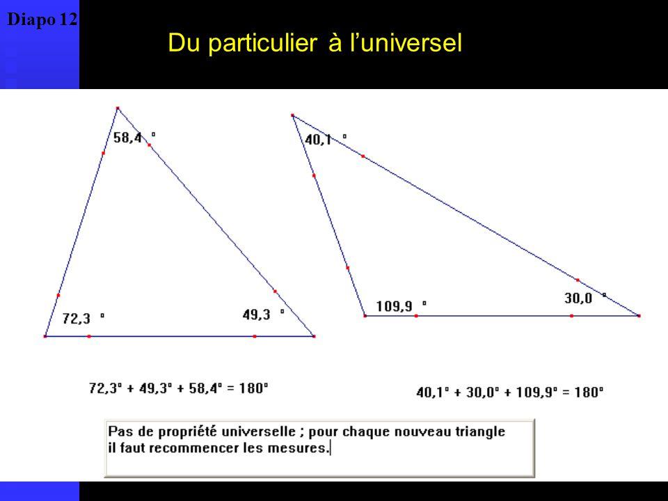 La propriété est vraie pour tous les triangles : comment le prouver ? Diapo 13