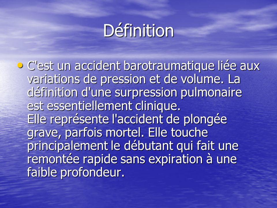 Définition C'est un accident barotraumatique liée aux variations de pression et de volume. La définition d'une surpression pulmonaire est essentiellem