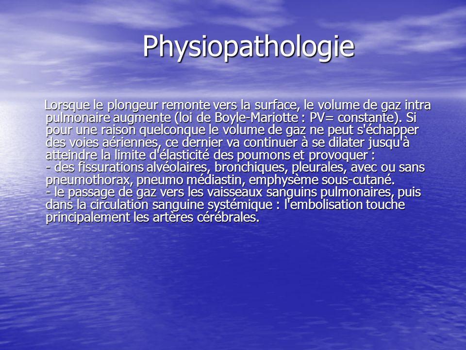 Physiopathologie Lorsque le plongeur remonte vers la surface, le volume de gaz intra pulmonaire augmente (loi de Boyle-Mariotte : PV= constante). Si p