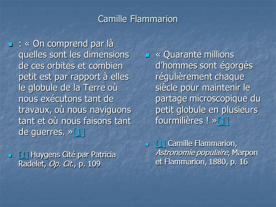 Camille Flammarion : « On comprend par là quelles sont les dimensions de ces orbites et combien petit est par rapport à elles le globule de la Terre o
