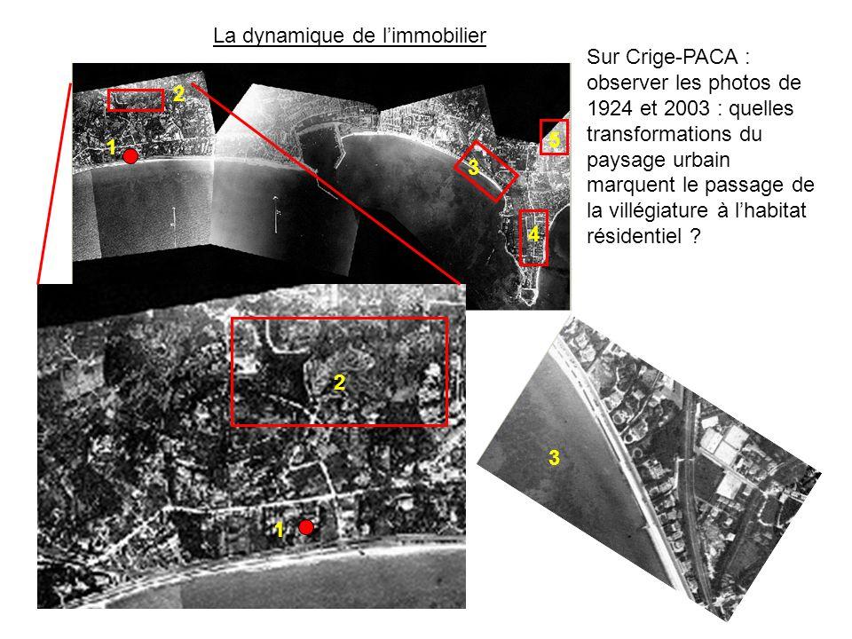 2 1 3 1 2 3 4 5 Sur Crige-PACA : observer les photos de 1924 et 2003 : quelles transformations du paysage urbain marquent le passage de la villégiature à lhabitat résidentiel .