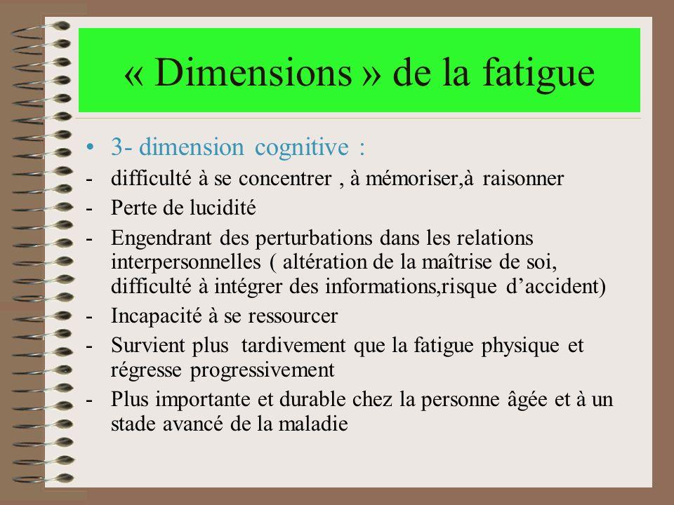 « Dimensions » de la fatigue 3- dimension cognitive : -difficulté à se concentrer, à mémoriser,à raisonner -Perte de lucidité -Engendrant des perturba