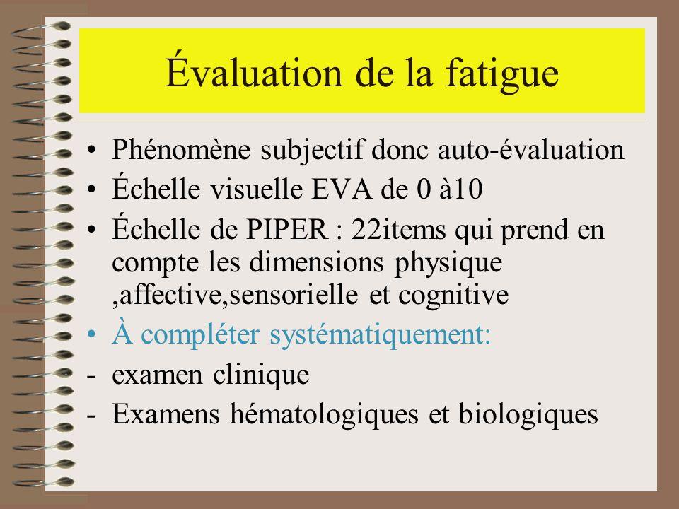 Évaluation de la fatigue Phénomène subjectif donc auto-évaluation Échelle visuelle EVA de 0 à10 Échelle de PIPER : 22items qui prend en compte les dim