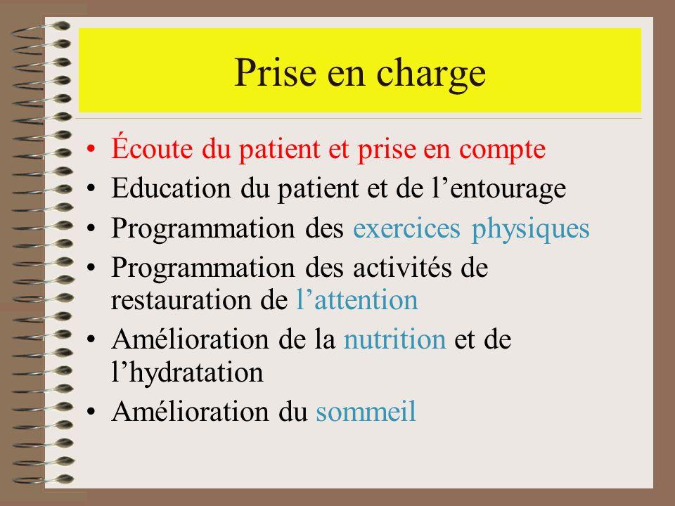 Prise en charge Écoute du patient et prise en compte Education du patient et de lentourage Programmation des exercices physiques Programmation des act