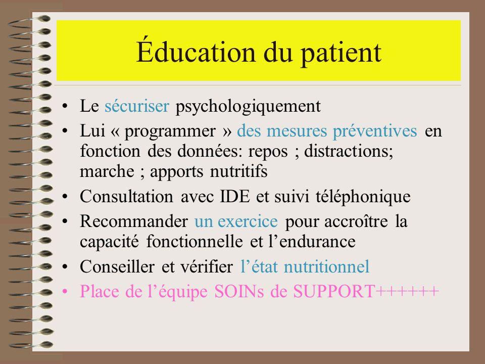 Éducation du patient Le sécuriser psychologiquement Lui « programmer » des mesures préventives en fonction des données: repos ; distractions; marche ;