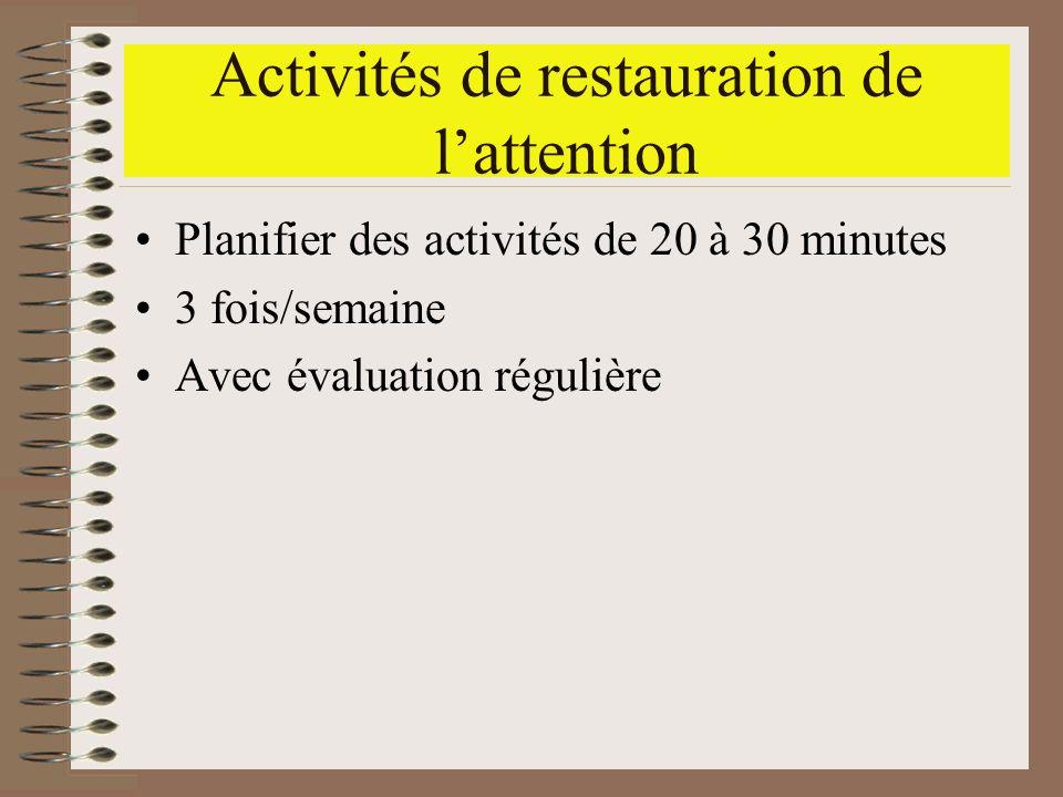 Activités de restauration de lattention Planifier des activités de 20 à 30 minutes 3 fois/semaine Avec évaluation régulière
