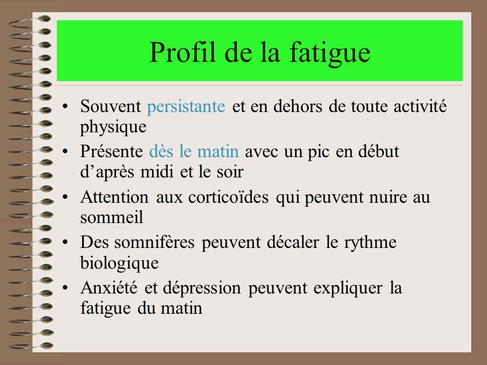 Profil de la fatigue Souvent persistante et en dehors de toute activité physique Présente dès le matin avec un pic en début daprès midi et le soir Att