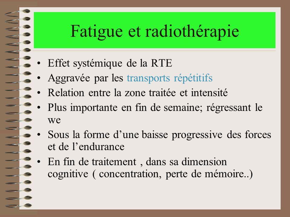 Fatigue et radiothérapie Effet systémique de la RTE Aggravée par les transports répétitifs Relation entre la zone traitée et intensité Plus importante