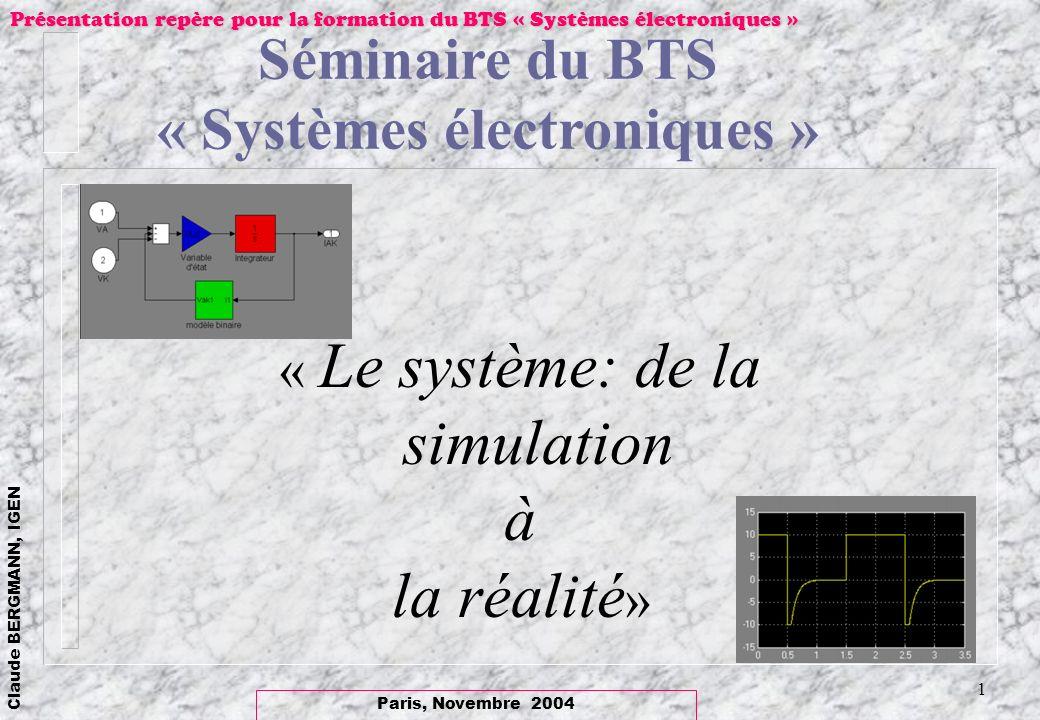 Paris, Novembre 2004 Claude BERGMANN, IGEN Présentation repère pour la formation du BTS « Systèmes électroniques » 12 loscillateur Colpitts avec le logiciel -La mise en équation nécessité de rechercher les variables détat: -3 variables: le courant i L et les tensions V c1, V c2 -Les équations de réseau (le transistor en base commune) -Les conditions initiales.