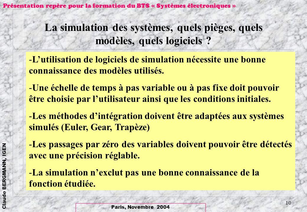 Paris, Novembre 2004 Claude BERGMANN, IGEN Présentation repère pour la formation du BTS « Systèmes électroniques » 10 La simulation des systèmes, quel