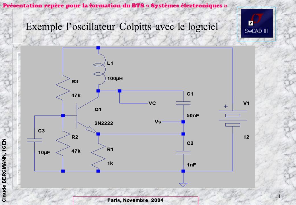 Paris, Novembre 2004 Claude BERGMANN, IGEN Présentation repère pour la formation du BTS « Systèmes électroniques » 11 Exemple loscillateur Colpitts av