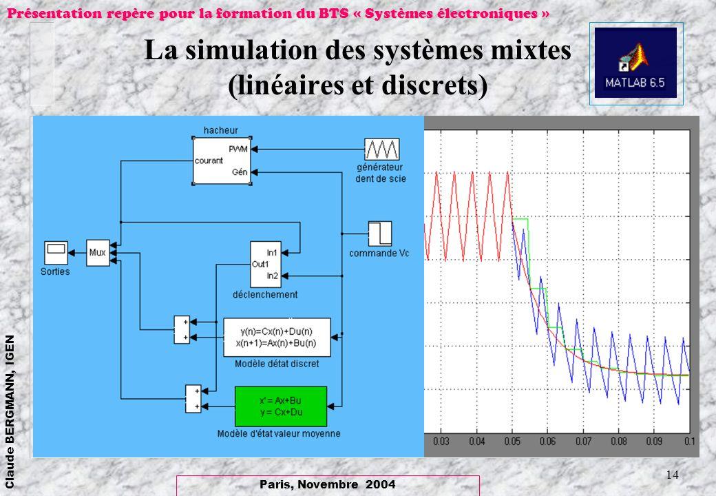 Paris, Novembre 2004 Claude BERGMANN, IGEN Présentation repère pour la formation du BTS « Systèmes électroniques » 14 La simulation des systèmes mixte