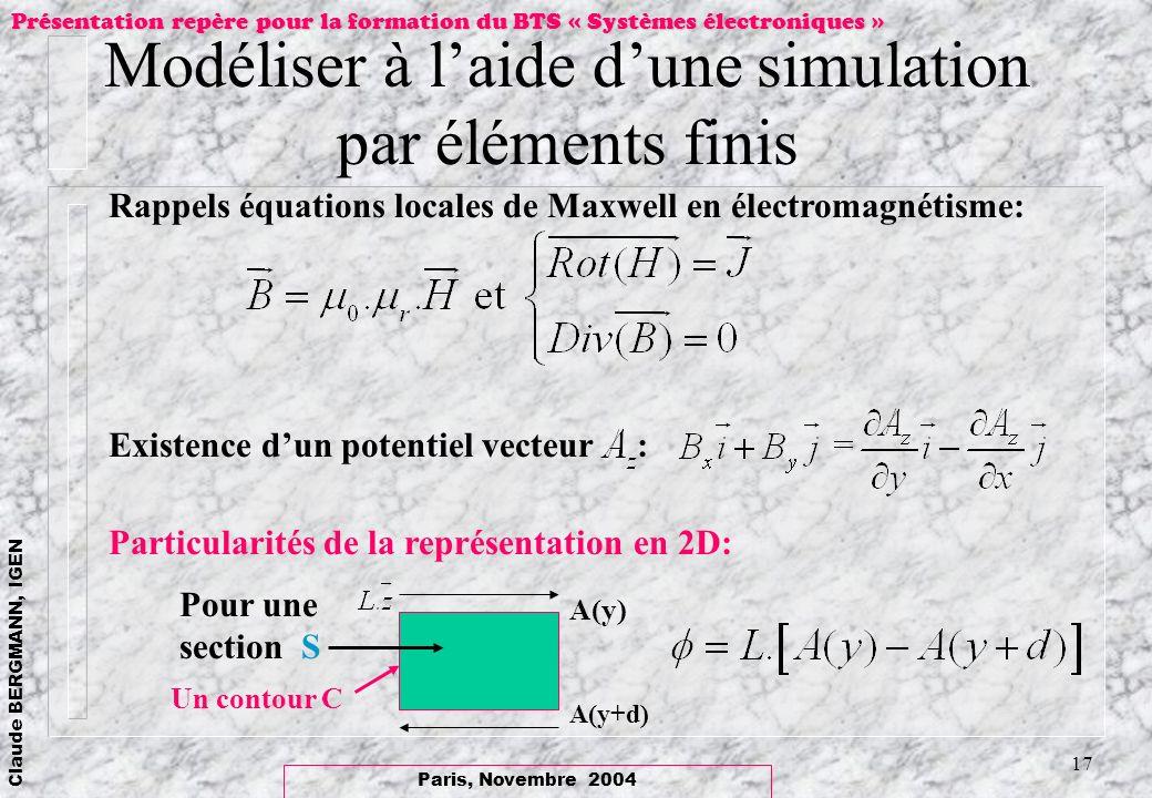 Paris, Novembre 2004 Claude BERGMANN, IGEN Présentation repère pour la formation du BTS « Systèmes électroniques » 17 Modéliser à laide dune simulatio