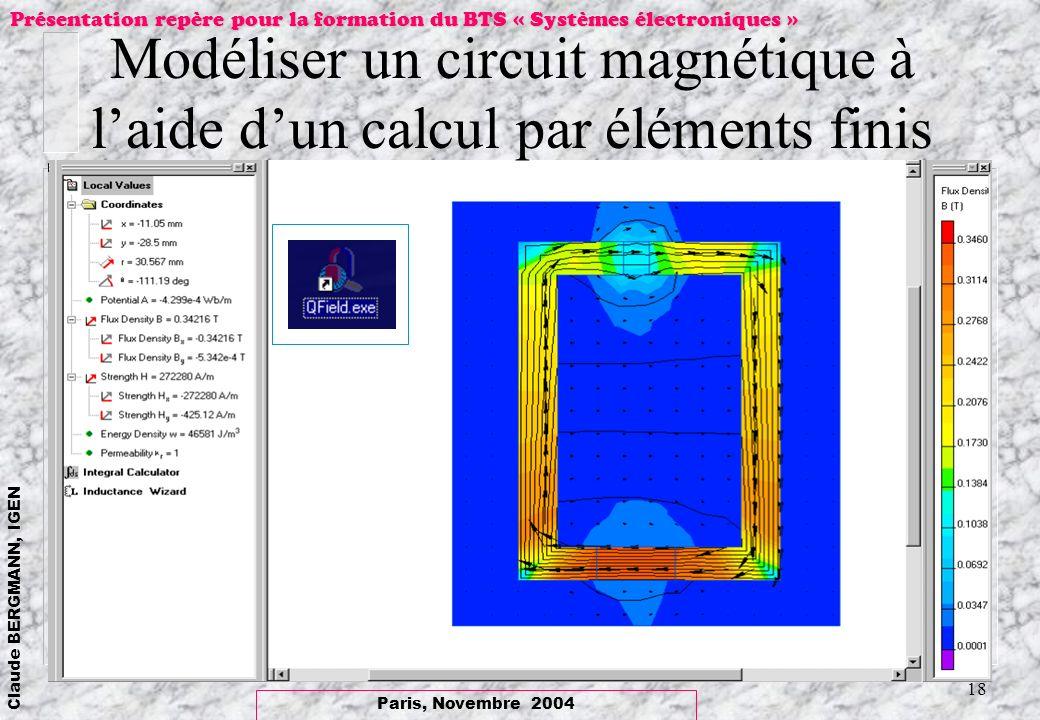 Paris, Novembre 2004 Claude BERGMANN, IGEN Présentation repère pour la formation du BTS « Systèmes électroniques » 18 Modéliser un circuit magnétique