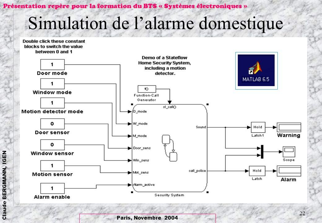 Paris, Novembre 2004 Claude BERGMANN, IGEN Présentation repère pour la formation du BTS « Systèmes électroniques » 22 Simulation de lalarme domestique