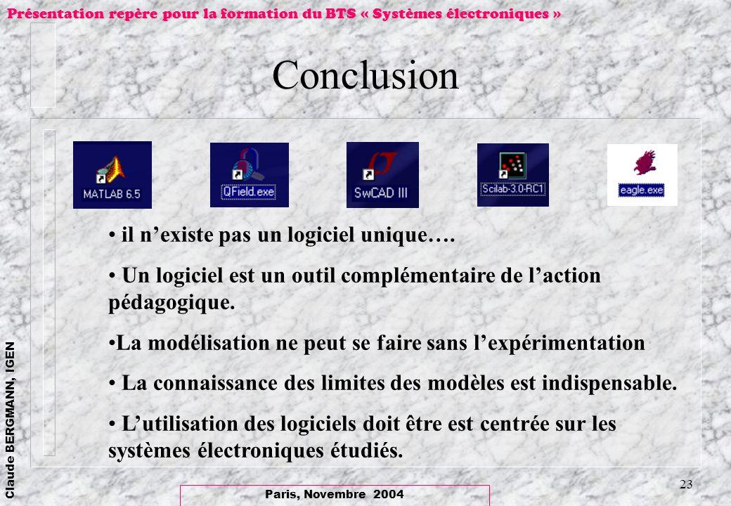 Paris, Novembre 2004 Claude BERGMANN, IGEN Présentation repère pour la formation du BTS « Systèmes électroniques » 23 Conclusion il nexiste pas un log
