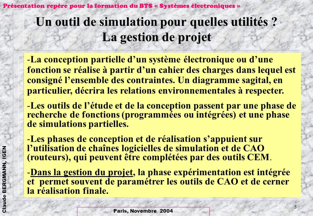 Paris, Novembre 2004 Claude BERGMANN, IGEN Présentation repère pour la formation du BTS « Systèmes électroniques » 4 Critères de choix : un logiciel « ouvert » et « ergonomique » -« Calculette vectorielle » -Ergonomie Graphique -Exemples dapplication -1 Représentation dun système triphasé -2 Une transformation complexe -3 Fonction AD2S100 (Analog Device) -4 Redressement avec un filtrage capacitif.