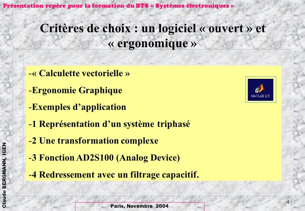 Paris, Novembre 2004 Claude BERGMANN, IGEN Présentation repère pour la formation du BTS « Systèmes électroniques » 4 Critères de choix : un logiciel «