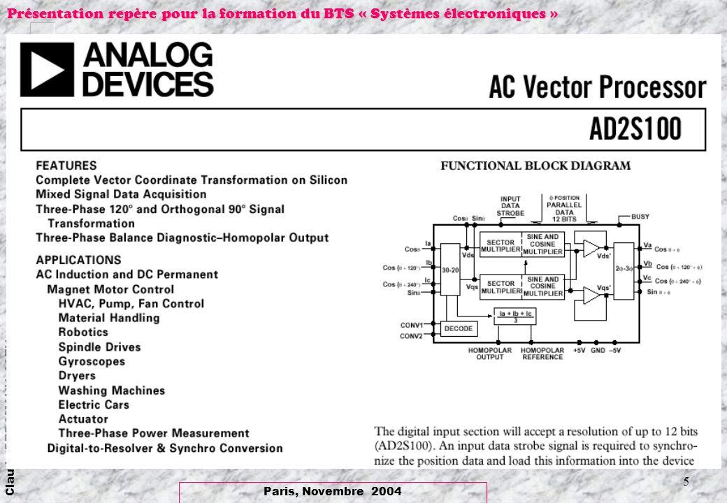 Paris, Novembre 2004 Claude BERGMANN, IGEN Présentation repère pour la formation du BTS « Systèmes électroniques » 6 Représentation dun système triphasé