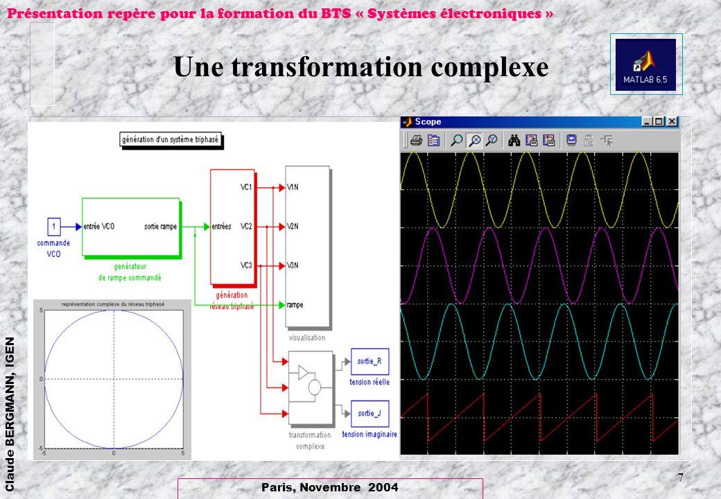 Paris, Novembre 2004 Claude BERGMANN, IGEN Présentation repère pour la formation du BTS « Systèmes électroniques » 7 Une transformation complexe