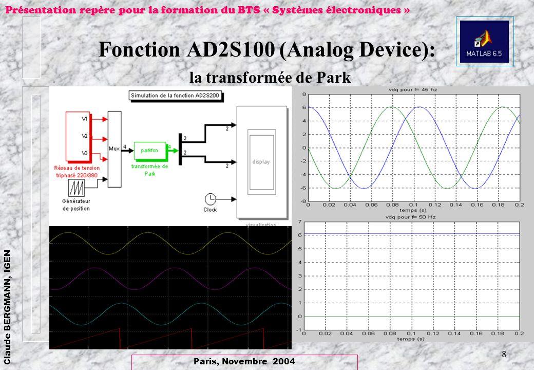 Paris, Novembre 2004 Claude BERGMANN, IGEN Présentation repère pour la formation du BTS « Systèmes électroniques » 8 Fonction AD2S100 (Analog Device):