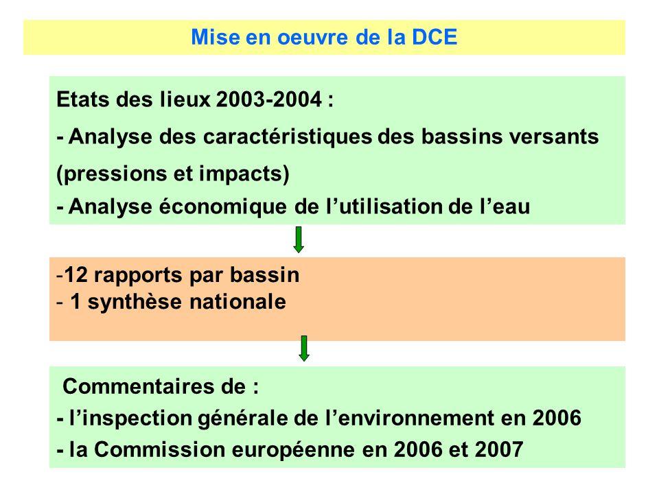 Mise en oeuvre de la DCE Etats des lieux 2003-2004 : - Analyse des caractéristiques des bassins versants (pressions et impacts) - Analyse économique de lutilisation de leau Commentaires de : - linspection générale de lenvironnement en 2006 - la Commission européenne en 2006 et 2007 -12 rapports par bassin - 1 synthèse nationale