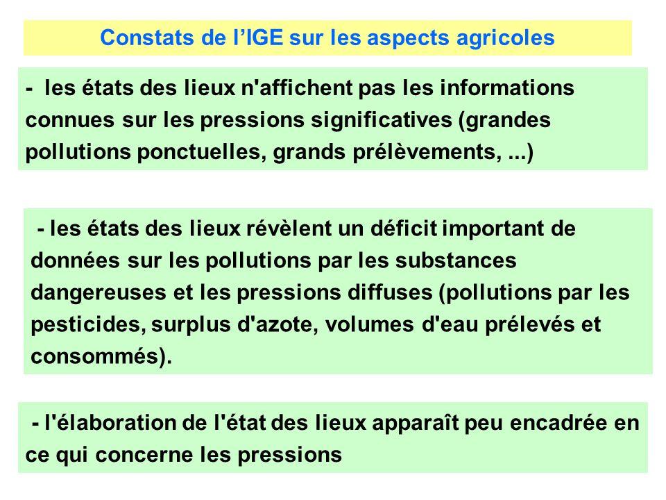 Constats de lIGE sur les aspects agricoles - l'élaboration de l'état des lieux apparaît peu encadrée en ce qui concerne les pressions - les états des