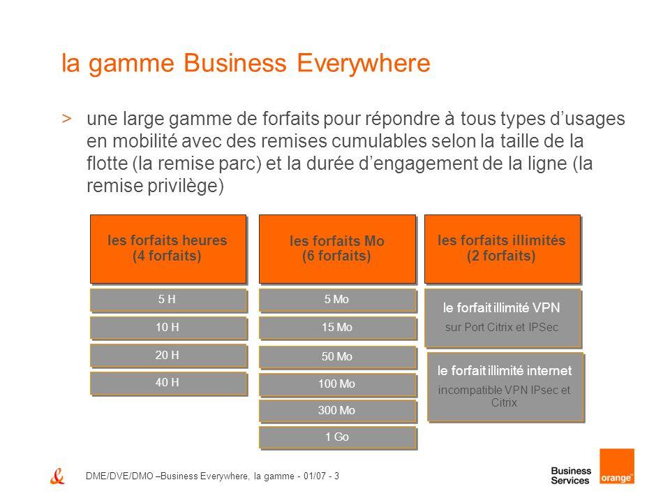 DME/DVE/DMO –Business Everywhere, la gamme - 01/07 - 3 la gamme Business Everywhere >une large gamme de forfaits pour répondre à tous types dusages en