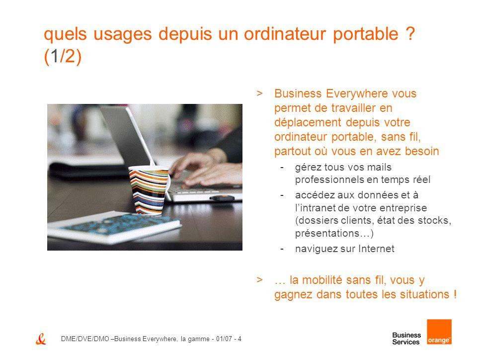 DME/DVE/DMO –Business Everywhere, la gamme - 01/07 - 4 quels usages depuis un ordinateur portable ? (1/2) >Business Everywhere vous permet de travaill