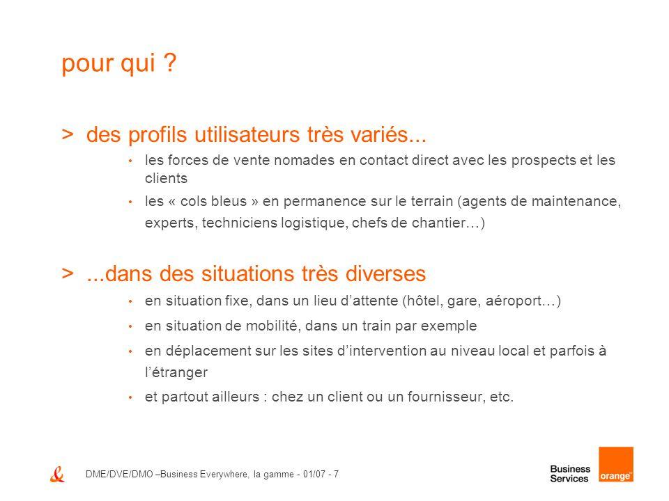 DME/DVE/DMO –Business Everywhere, la gamme - 01/07 - 7 pour qui ? >des profils utilisateurs très variés... les forces de vente nomades en contact dire