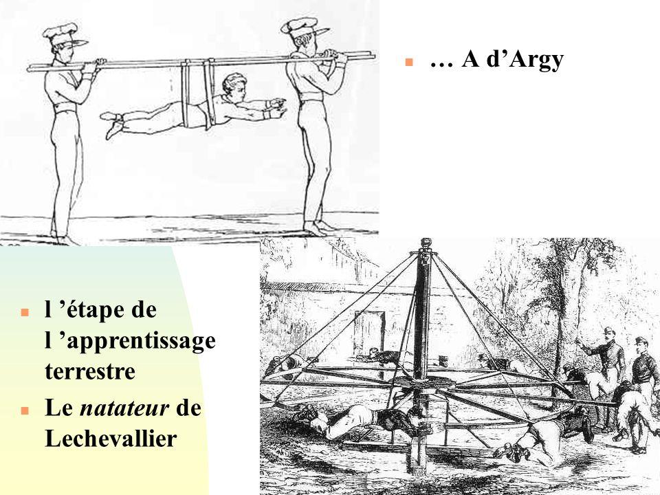 Passer à la première page n … A dArgy n l étape de l apprentissage terrestre n Le natateur de Lechevallier
