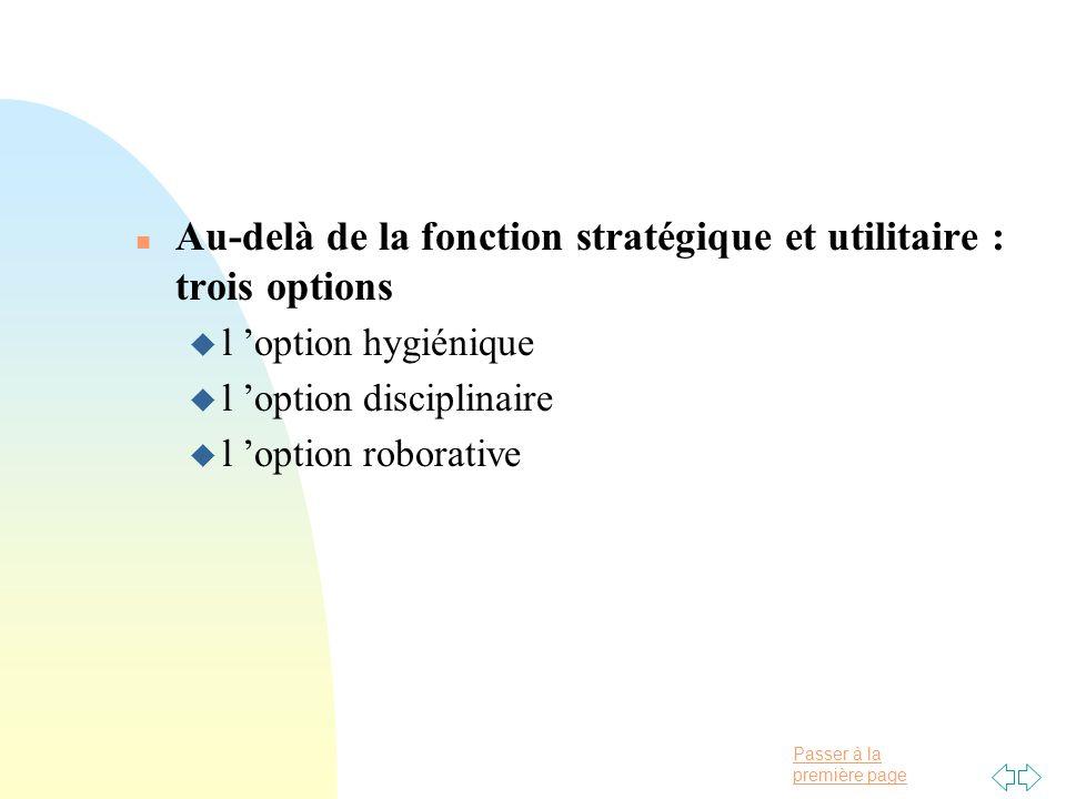Passer à la première page n Au-delà de la fonction stratégique et utilitaire : trois options u l option hygiénique u l option disciplinaire u l option