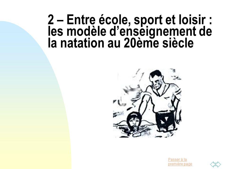 Passer à la première page 2 – Entre école, sport et loisir : les modèle denseignement de la natation au 20ème siècle