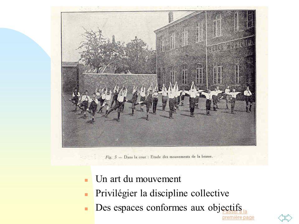 Passer à la première page n Un art du mouvement n Privilégier la discipline collective n Des espaces conformes aux objectifs