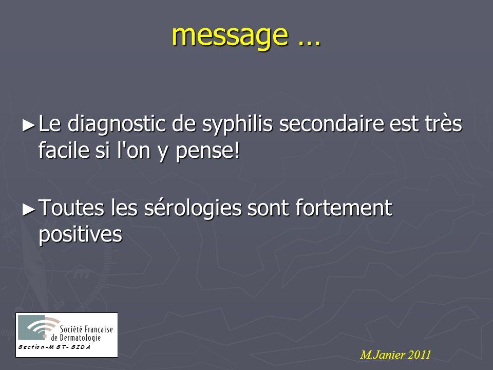message … Le diagnostic de syphilis secondaire est très facile si l'on y pense! Le diagnostic de syphilis secondaire est très facile si l'on y pense!
